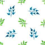 Vector seamless watercolour pattern. Nature background. Blue and green watercolor leaves on white background Stock Photos