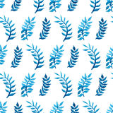 Vector seamless watercolour pattern. Nature background. Blue and green watercolor leaves on white background Royalty Free Stock Photo