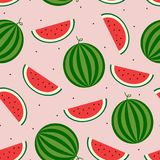 Vector seamless watermelon pattern. Whole watermelon and juicy slices Royalty Free Stock Image