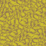 Vector seamless wave doodle hand drawn pattern in bright yellow. Royalty Free Stock Image
