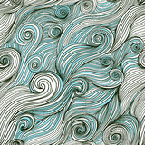 Vector seamless wave hand-drawn pattern, waves background (seaml