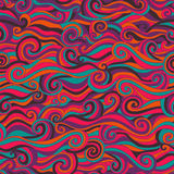 Vector seamless wave hand-drawn pattern, waves background (seaml Stock Images