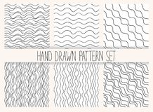 Vector seamless wavy line pattern set. Graphic textures. Hand drawn backgrounds. Minimalistic backdrops. Monochrome Royalty Free Stock Image