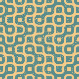 Vector Seamless Wavy Lines Irregular Retro Grungy Blue Tan Pattern Royalty Free Stock Photography