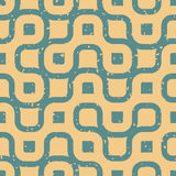 Vector Seamless Wavy Lines Irregular Retro Grungy Blue Tan Pattern Royalty Free Stock Photos