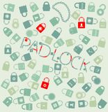 Vector set web icons. pudlock and chain seamless Royalty Free Stock Images