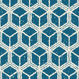 Vector Seamless White Navy Color Hand Drawn Distorted Lines Cube Shape Grunge Retro Pattern Royalty Free Stock Photo