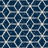Vector Seamless White Navy Color Hand Drawn Distorted Lines Star Shape Grunge Retro Pattern Royalty Free Stock Photography