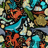 Vector Seamless Wild Sea Life Pattern. Royalty Free Stock Photography