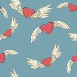 Vector seamless wings and heart Royalty Free Stock Photos