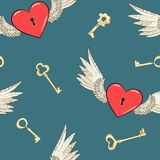 Vector seamless wings and heart Stock Photos