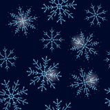 Vector seamless winter pattern with snowflakes made with rhinestones. Royalty Free Stock Photography