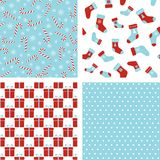 Vector seamless winter patterns. Christmas backgrounds. Set Stock Image