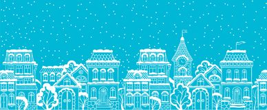 Vector seamless winter snowy city scape. Graphic background. Vector seamless winter snowy city scape. Outline background Illustration for Christmass and New Royalty Free Stock Photo