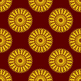 Vector Seamless Yellow Mandala Pattern over Dark Red Royalty Free Stock Images