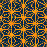 Vector Seamless Yellow Navy Color Hand Drawn Distorted Lines Star Shape Grunge Retro Pattern Stock Photos