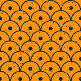 Vector Seamless Yellow Navy Color Hand Drawn Distorted Round Lines Circle Shape Grunge Retro Pattern Royalty Free Stock Images