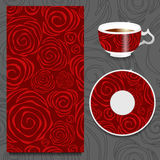 Vector seamlessr rose pattern with cup and plate. russian design Royalty Free Stock Photo