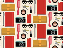 Vector seamlss pattern of content of hipsters bag with comb, notepad, mobile phone, camera, glasses etc. in flat style. Royalty Free Stock Photo