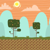 Vector seamnless forest garden game background. Horizontal pattern with sun and mountains for ui Stock Photo