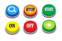 Vector search button, stop, start, on, off and green button vector illustration