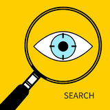 Vector search icon. Search icon. Eyes with target under magnifying glass. Vector illustration Royalty Free Stock Image