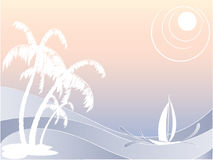 Vector seascape with palms Royalty Free Stock Photo