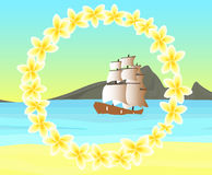 Vector seascape with ship in the sea, at the coast of tropical island with floral frame of frangipani flowers Royalty Free Stock Photo