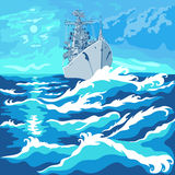 Vector seascape with a warship Royalty Free Stock Images