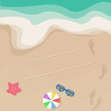 Vector seashore illustration, top view Stock Photos