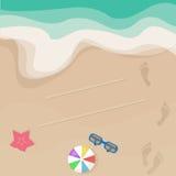 Vector seashore illustration, top view Stock Photos