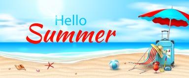 Vector seaside beach azure waves sand coast. Hello summer poster. Seaside beach with azure waves, lounger sun umbrella, inflatable ball, cocktail and starfish on royalty free illustration