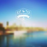 Vector seaside landscape with hipster badge. Outdoor. Barcelona Stock Photo