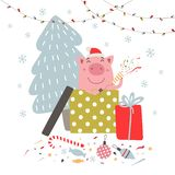 Funny vector pig, holiday decoration and Christmas tree. stock illustration