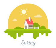Vector seasonal illustration of sweet house with chimney on green grass. Spring season concept with sun on white background. Family suburban home. Flat style royalty free illustration