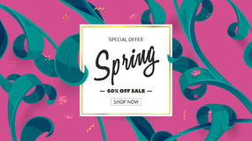 Vector seasonal sale banner. Spring holiday sale offer with text and tropical leaves in a collage style. Festive frame decorated with abstract floral elements royalty free illustration