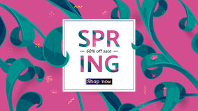 Vector seasonal sale banner. Spring holiday sale offer with text and tropical leaves in a collage style. Festive frame decorated with abstract floral elements stock illustration