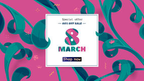 Vector seasonal sale banner. Spring holiday sale offer with text and tropical leaves in a collage style Stock Images