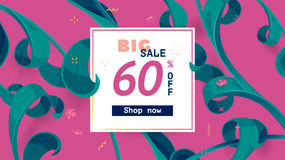 Vector seasonal sale banner. Spring holiday sale offer with text and tropical leaves in a collage style. Festive frame decorated with abstract floral elements vector illustration