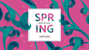 Vector seasonal sale banner. Spring holiday sale offer with text and tropical leaves in a collage style Royalty Free Stock Image