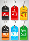 Vector Seasonal Sale Tags for Store Promotion Stock Photos