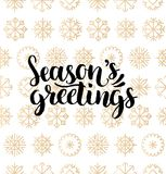 Vector Seasons Greetings lettering design on snowflakes background. Christmas or New Year seamless pattern. Vector Seasons Greetings lettering design on Royalty Free Stock Photography