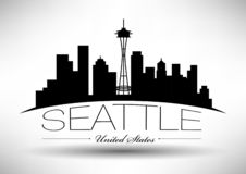 Vector Seattle Skyline Design royalty free illustration