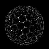 Vector sechseckigen Gitter buckyball Bereich, der auf schwarzem Hintergrund lokalisiert wird vektor abbildung