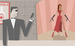 Vector secret agents. Vector cool secret agents, man and woman Stock Photos