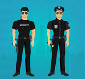 Vector Security and Policeman guards concept. Royalty Free Stock Photography