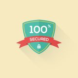 Vector security shield icon badge in flat style. Stock Photography
