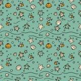 Vector Seenahtloses Muster mit handdrawn Starfishes, Fische, Oberteile, Meeresschildkröten Stockfotos
