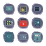 Vector seguro del depósito de la protección de la cámara acorazada del dinero de la puerta de las finanzas del negocio del concep Fotografía de archivo