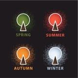 Vector seizoengebonden beweging veroorzakend. Gestileerde boom. Seasos van vier jaar. Maak schoon, Stock Fotografie